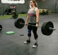 Screenshot of me doing a 140 lb hang clean. You can watch the full video here: https://www.instagram.com/p/BgznBRBnR8N/?taken-by=she_noted